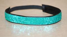 Aqua with Black Background Headband   Non Slip   by Ladybuglogic, $5.99