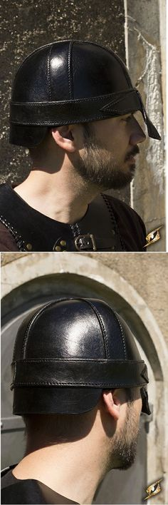 Other Reenactment and Theater 163132: Epic Armoury Warrior Helmet Black Leather Larp -> BUY IT NOW ONLY: $59 on eBay!