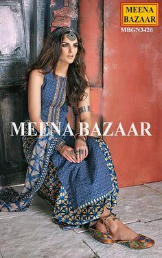 Blue Cotton Palazzo Suit - Salwar Kameez