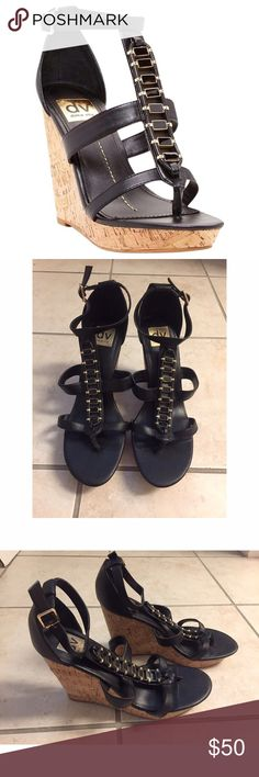 """Dolce Vita Black & Gold Wedge Sandals These wedge sandals are super stylish & comfortable for everyday wear. Great with a dress or jeans and a top! Adjustable Buckle ankle strap closure. Approx 4.5"""" heel. 1"""" platform. Dolce Vita Shoes Wedges"""