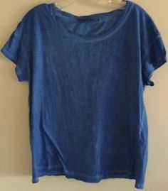 ANTHROPOLOGIE MICHAEL STARS SUPIMA COTTON BLUE SCOOP NECK TSHIRT TOP TEE:O/S