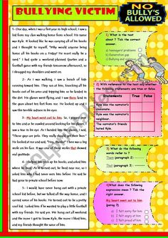 A Bullying Victim Worksheet Bureau Vocabulary Worksheets English Writing Skills, English Reading, English Vocabulary, Teaching English, Learn English, English Test, English Language, Bullying Worksheets, Counseling Worksheets