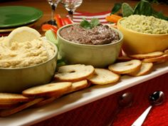 Black Bean Chipotle Hummus (see also..Spinach Hummus, and Lemon Garlic Hummus..video format apparently.) via Mr. Food