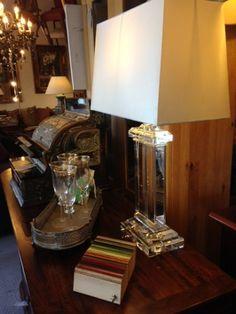 Clear Crystal Pedestal Table Lamp with Shade 63cm £197 (fav)  harvestmoon
