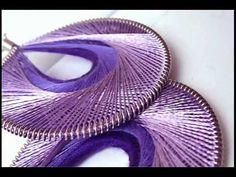 Handmade Thread Earrings with Yarn Wrapped Hoops