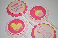 12 Girl's 1st Birthday Party Cupcake Toppers by sosweetpartyshop
