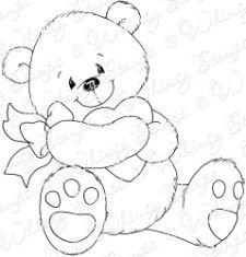 This adorable bear is called Heart Hugs. It is from the Crissy Armstrong Collection designed for Whimsy Stamps. This is a deeply etched rubber stamp mounted on cling cushion foam that is untrimmed. Approximate size in inches: 3.2 X 3.3 Card sample created by Niki Estes Card sample created by Jacque Beddingfield