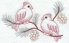 """Vintage-Stitch Cardinal Duo Product ID: C7215 Size: 6.85""""(w) x 4.2""""(h) (174 x 106.6 mm) Color Changes: 7 Stitches: 6035 Colors Used: 7"""