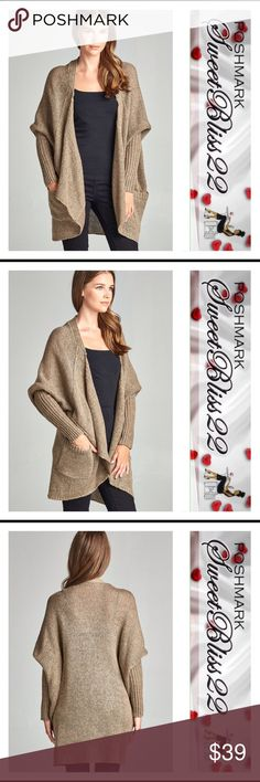 🌟Khaki Cardigan🌟 Must have Fall Cardigan!  72% ACRYLIC 28% POLYESTER LONG SLEEVE OPEN DRAPE KNIT SWEATER CARDIGAN W/ POCKET Comes in Charcoal Grey Sweaters Cardigans