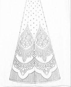 Hand emroidery design for lehenga/fashion designer sketch for lehenga design - Draw online Hand Embroidery Design Patterns, Hand Work Embroidery, Embroidery Motifs, Embroidery Suits Design, Textile Patterns, Beaded Embroidery, Machine Embroidery Designs, Pattern Sketch, Pattern Drawing