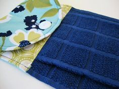 Blue Floral Kitchen Dish Towel  Navy Blue Button Top by Jambearies