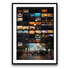 Cuadro vintage, luz noche ciudad 39
