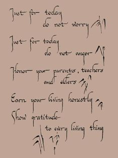 Just for today - do not worry.  Just for today - do not anger.  Honor your parents, teachers and elders.  Earn your living honestly. Show your gratitude to every living thing.