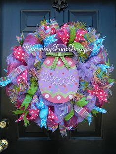 Bright Easter Egg Deco Mesh Wreath by CharmingDoorDesigns on Etsy, $78.00