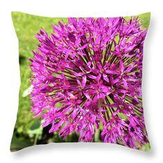 Marina Usmanskaya Throw Pillow featuring the photograph Allium by Marina Usmanskaya MarinaUsmanskayaFineArtPhotography, Allium, ArtForHome, FineArtPrints