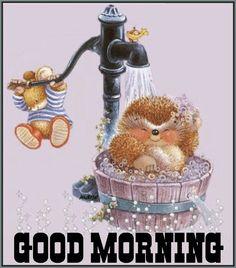 Hedgehog bath under the water pump Hedgehog Illustration, Cute Animal Illustration, Hedgehog Art, Cute Hedgehog, Tatty Teddy, Animals And Pets, Cute Animals, Cute Good Morning Quotes, Morning Cartoon