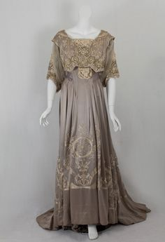 Callot Soeurs dinner dress of hand embroidered silk charmeuse, c.1905.