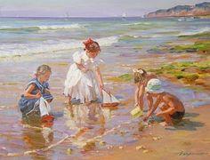 NIÑAS EN PAISAJES IMPRESIONISTAS Pintor Alexander Averin, (Nació en el Año 1952 en Rusia) Retratos de Niñas Jugando en el Mar / Pinturas de Niñas en la Playa