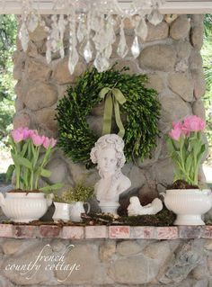 FRENCH COUNTRY COTTAGE: Outdoor Spring Mantel