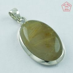 SIIPL _ OVAL GOLDEN RUTILE STONE 925 STERLING SILVER PENDANT P5051 #SilvexImagesIndiaPvtLtd #Pendant