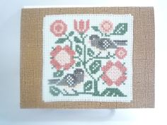 Junco Birds hand stitched card by HMCrafters on Etsy