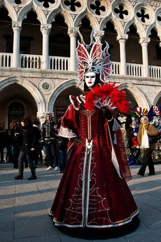 Red costume, Carnival of Venice  Always wanted to go here for this!