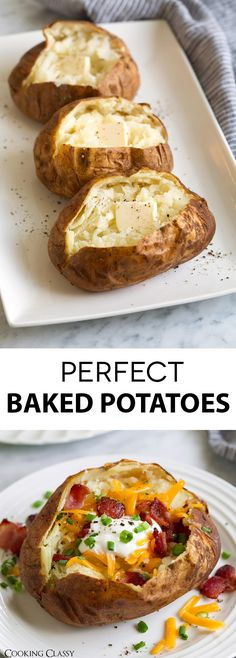 BEST Baked Potatoes - This simple method yields the best baked potatoes on the planet! Fluffy, moist interior and salty, crispy exterior. Load them up with all your favorite toppings or just serve with butter and a little salt and pepper. via @cookingclassy