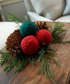déco de table de Noël en tricot