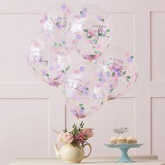 Floral Confetti Happy Birthday Balloons Pk 5