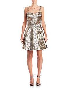 Phoebe Jacquard Cocktail Dress - Gold Black - Size
