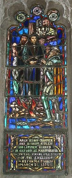 Stained glass window depicting Cranmer, Ridley, and Latimer, the Oxford Martyrs