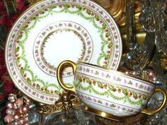Limoges Swag Acorn Clover Cream Soup Boullion Cup and Saucer