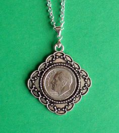 1995 21st Birthday Pendant, 1 Dime Necklace, Roosevelt Liberty Coin, Sterling…