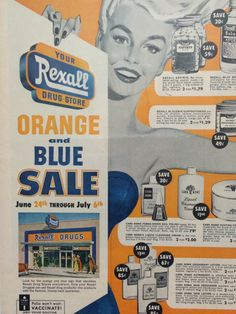 Here is an Original Vintage 1940s Rexall Drug Store Advertisement. This advertisement is in very good condition for its age.    All of my