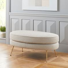 Pietro Mid-Century Oval Ottoman A nod to Italian mid-century design, o. Oval Ottoman, Modern Ottoman, Modern Chairs, Mid Century Style, Mid Century Design, West Elm, Oversized Furniture, Leather Ottoman, Bedding Shop