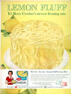 1960 Betty Crocker Lemon Fluff Frosting Mix Classic Vintage Print Ad