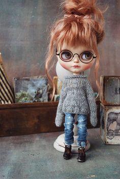 Blythe Dolls, Girl Dolls, Baby Dolls, Pretty Dolls, Cute Dolls, Cute Cartoon Girl, Doll Hair, Knitted Dolls, Collector Dolls