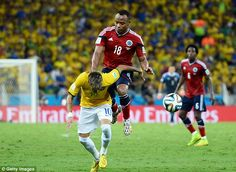 With the ball nowhere near Juan Zuniga smashes his knee into the lower part of Neymar's back. Fortaleza Brasil 2014 Colombia-Brazil match July 4