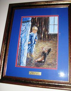 Australian Artist Brenda Roberton s original pastel titled Helping Grandpa . Australian Artists, Have Fun, Pastel, The Originals, Frame, Painting, Decor, Picture Frame, Cake