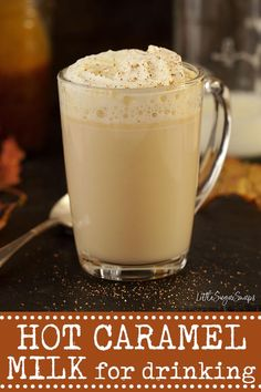 HOT CARAMEL MILK with optional bourbon #hotcaramelmilk #drinkingcaramel #caramelsteamer #caramelmilk #carameldrink #boozymilkdrink #bourbonmilk #bourboncaramel Most Delicious Recipe, Delicious Food, Steamed Milk Recipe, Fun Drinks, Beverages, Soda Floats, Create A Recipe, Group Meals, Tea Recipes