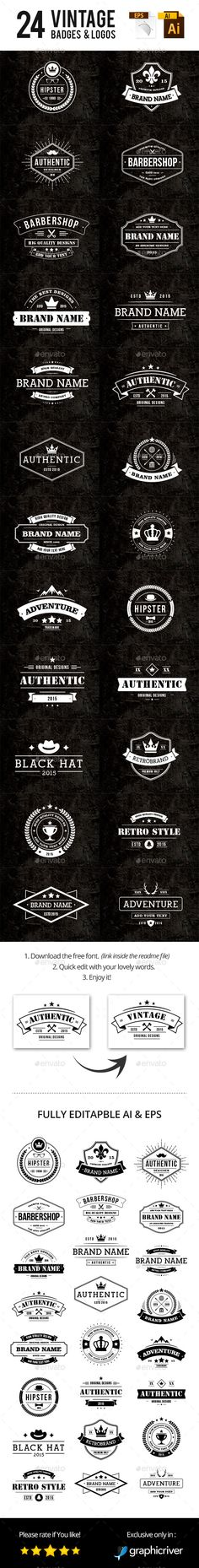 24 Vintage Badges & Logos #design Download…