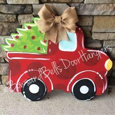 Christmas tree truck doorhanger, christmas wreath, Christmas door hanger, winter…