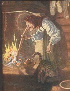 Kunstnerkort Th.Kittelsen Kjerringa ved peisen. Utg Mittet Stemplet 1941