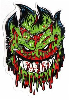 Spitfire Wheels - Psycho Zombie Skateboard Sticker - Monster ...