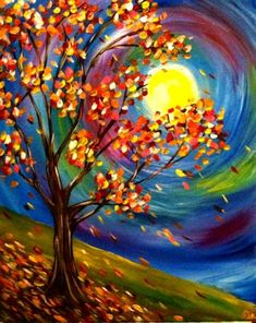 Change it to georgia on my mind. Below is our collection of fabulous fall art ideas to keep your little one hooked this season. 228 Best Fall Canvas Painting Images…Read more of Fall Themed Paintings Fall Canvas Painting, Autumn Painting, Autumn Art, Canvas Art, Autumn Leaves, Autumn Trees, Diy Canvas, Canvas Ideas, Framed Canvas