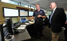 Australia's Deputy Prime Minister Warren Truss, right, and Dan Gillis, senior search and rescue officer involved in the search for the missing Malaysia Airlines Flight MH370, watch monitor at the Australian Maritime Safety Authority's rescue coordination center in Canberra, Sunday, March 23. 2014. (AP Photo/Graham Tidy, Pool) ▼24Mar2014AP|Malaysia: Missing flight crashed in Indian Ocean bigstory.ap.org/... #mh370 #mas #B777200 #MalaysiaAirlines #Canberra #Australia #WarrenTruss #DanGillis