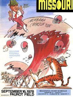 1978 Missouri Tigers vs Alabama Crimson Tide 22 x 30 Canvas Historic Football Poster
