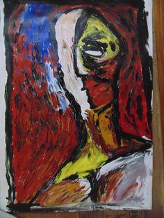 portrait; acrylic on paper