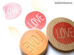 love rubber stamp. circle rubber stamp. hand carved stamp. hand carved rubber stamp. mounted.