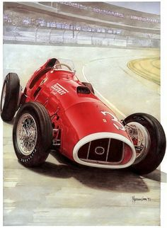 1952 Ferrari 375 Indianapolis. The Scuderia built this single-seater to race in the 1952 Indy 500. Artwork by Pininfarina designer Maurizio Corbi, who is a master with the computer tablet, but keeps his drawing skills sharp by illustrating autos by hand. #ScuderiaFerrari #RedSeason #Ferrari70